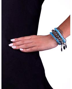 Kit 5 pulseiras de elastico em acrílico e metal Dalila