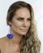 Maxi brinco de acrílico azul Yasmin