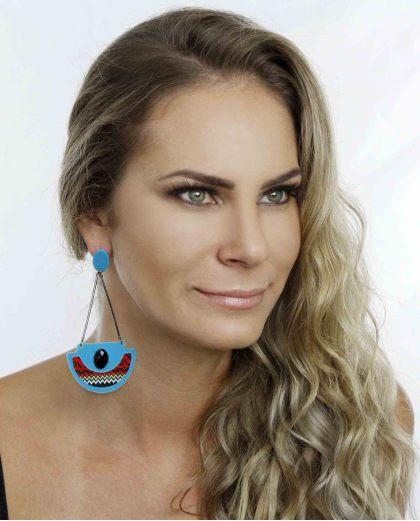 Maxi brinco de acrílico azul turquesa Yasmin