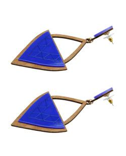 Maxi brinco de acrilico e madeira azul Aruana