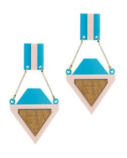 Maxi brinco de acrilico e madeira azul e rosa Rebeca