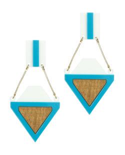 Maxi brinco de acrilico e madeira branco e azul Rebeca