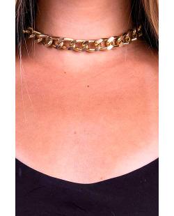 Colar de correntes dourado e marrom Lorena