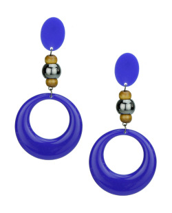 Maxi brinco de acrílico e madeira azul Esther