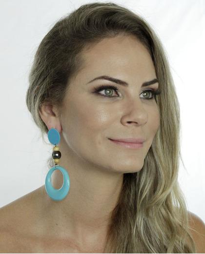 Maxi brinco de acrílico e madeira azul turquesa Esther