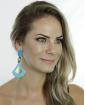 Maxi brinco de acrílico azul turquesa Victória