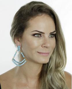 Maxi brinco dourado com strass azul-turquesa Valentina