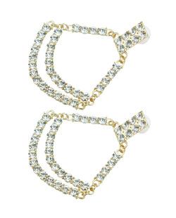 Maxi brinco dourado com strass cristal Valentina