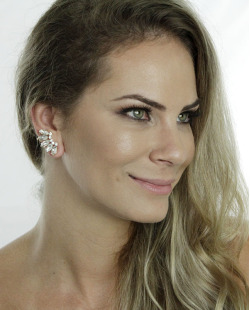 Ear cuff dourado com strass cristal Ashe