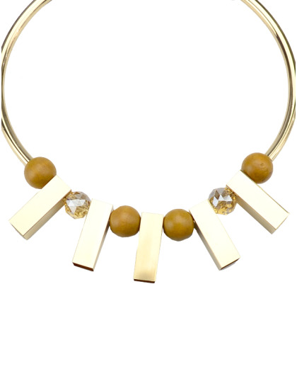Maxi Colar dourado de metal, aluminio e madeira Oxford