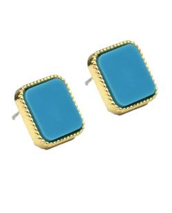 Brinco pequeno de metal dourado e azul turquesa Astoria