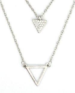Colar prateado triangulo com strass cristal Hollywood
