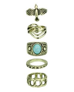 Kit 5 anéis dourados com pedra de resina azul turquesa Ames