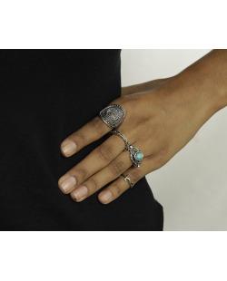 Kit 4 anéis prateados com resina azul Rockford