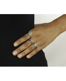 Kit 3 anéis prateados Muncie