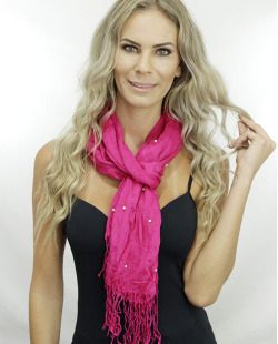 Lenço pink com pérola Celósia