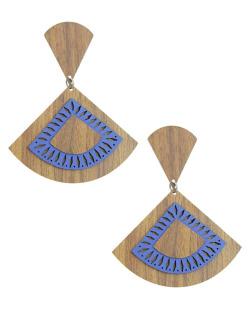 Maxi brinco de madeira com couro azul escuro Eremurus