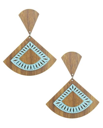 Maxi brinco de madeira com couro azul claro Estaticia