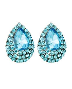 Brinco pequeno gota strass e pedra azul turquesa Gold
