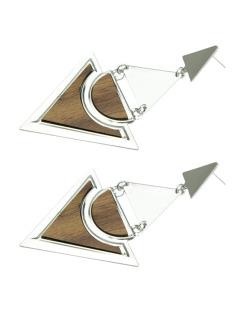 Maxi brinco de metal prateado com madeira Cancri