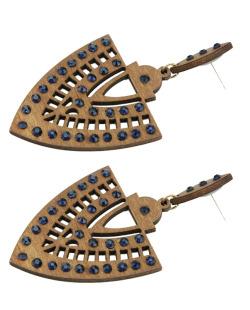 Maxi brinco de madeira com strass azul Epiro