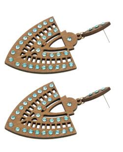 Maxi brinco de madeira com strass azul turquesa Epiro