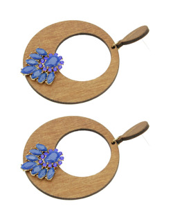 Maxi brinco de madeira com strass e pedra azul Búlis