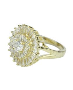Anel dourado com strass brilhante Cahors
