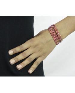 Kit 10 pulseiras grafite com strass vermelho Maras