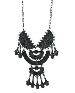 Maxi colar de metal preto com pedra preta Tramore