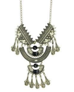 Maxi colar de metal dourado com pedra preta Tramore