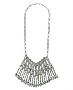 Maxi colar de metal prateado com pedra grafite Mullingar
