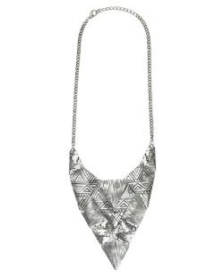 Maxi colar de metal prateado Taupo