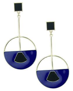 Maxi brinco dourado, preto e azul Kongens