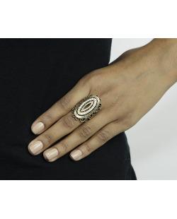 Anel dourado com strass cristal Rønne