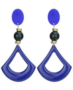 Maxi brinco de acrílico azul e preto Guelph