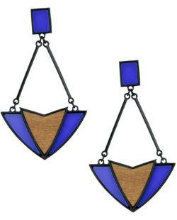 Maxi brinco de metal e madeira preto e azul Kitchener