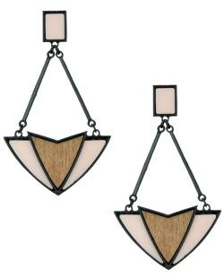 Maxi brinco de metal e madeira preto e rosa Kitchener