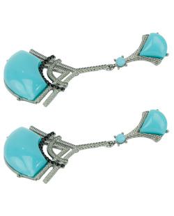 Maxi brinco de metal grafite e acrílico azul turquesa Vaughan
