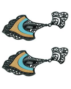 Maxi brinco de metal preto e madeira com resina preta e azul-turquesa Vader