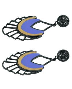Maxi brinco de metal preto e madeira com resina azul Vigo