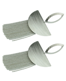 Maxi brinco de metal prateado com franja Ávila