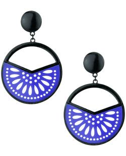 Maxi brinco de metal e acrílico preto e azul Coimbra