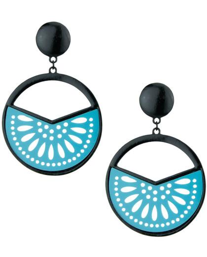 Maxi brinco de metal e acrílico preto e azul-turquesa Coimbra