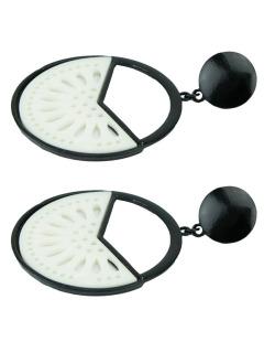 Maxi brinco de metal e acrílico preto e branco Coimbra