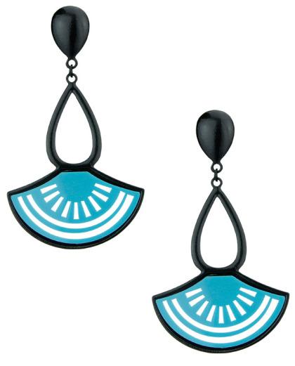 Maxi brinco de metal e acrílico preto e azul-turquesa Braga