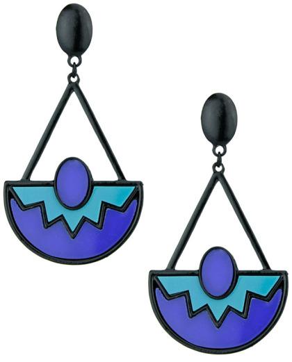 Maxi brinco de metal preto com acrílico azul e azul-turquesa Sintra