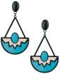 Maxi brinco de metal preto com acrílico azul-turquesa e rosa Sintra