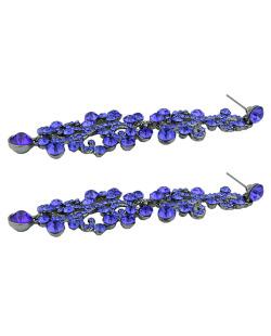 Maxi brinco de metal grafite com strass azul Ramos