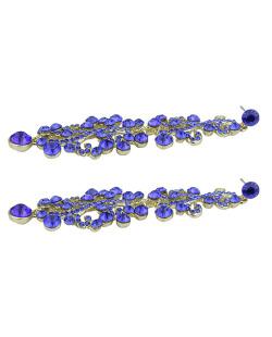 Maxi brinco de metal dourado com strass azul Ramos